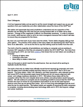 GED Testing Service Letter